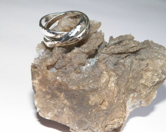 Sterling Silver Interlocking Triple Band Rolling Ring Trinity Russian Wedding