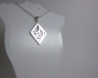 Sterling silver art nouveau inspired pendant on silver cable chain