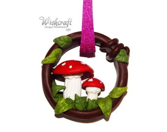 Toadstool christmas ornament,polymer clay,toadstool christmas decoration, toadstool ornament, fairy ornament