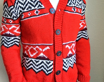 Hand knitted ''Twin Peaks'' men's cardigan