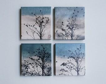 set of 4 canvas art, ready to hang art, bird art