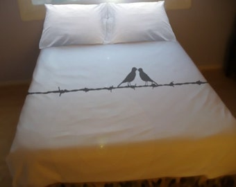 Barb Wire Love Bird Duvet Cover Queen Bedding King Twin Bird Bedding Full Double Queen Size Duvet Cover King Bedding Twin Bedding newlywed