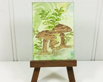 Champignons des bois ACEO, lunatique marron champignons Miniature aquarelle Art