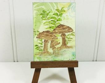 Woodland Mushrooms ACEO, Whimsical Brown Fungi Watercolor Miniature Art