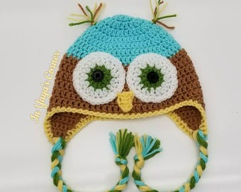 Crochet Owl Hat with Ear Flaps - Toddler Hat- Baby Hat- Animals Hat