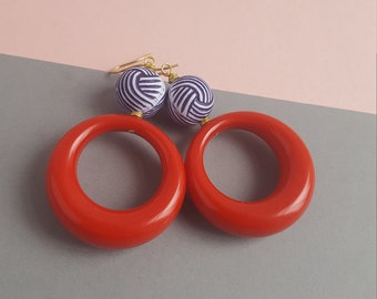 Big bold lucite earrings red white and blue