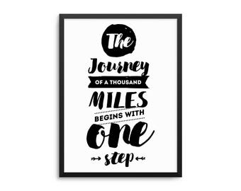 Lao Tzu Quote Poster, Journey Of A Thousand Miles Begins With One Step, Motivational Quote Wall Art, Tao Quote Art, Inspirational Art Print