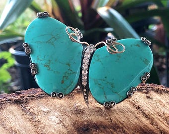 Sterling Silver Turquoise Butterfly CZ Marcasite Ring