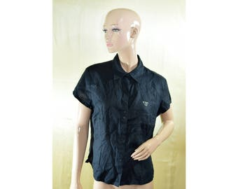 Vintage Franco Callegari women top blouse shirt black 100% linen