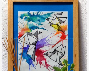 Watercolor painting colorful origami birds