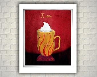 Latte-  Kitchen Art Print. Contemporary painting print. Home decor. Kitchen decor.