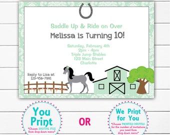 Horseback riding birthday invitation -- horseback riding party --  horses -  girls birthday Mint Green