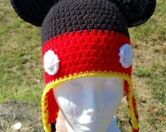 Handmade Crochet boy mouse Hat, Mouse hat, Crochet hat, photo prop, Made to order, Customizable colors kids fun, winter wear, earflap beanie