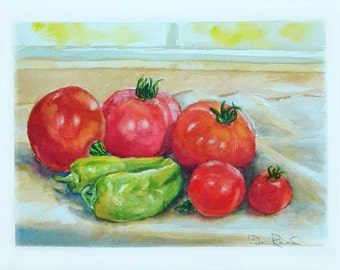 Tomatoes and Peppers - Kitchen Decor - original watercolor painting