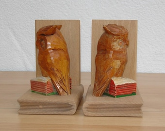 2 book Columns-Carved wooden Owl at 1970