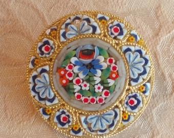 Vintage 1950s mid-century micro mosaic pin brooch 1960s 1950s, Italy