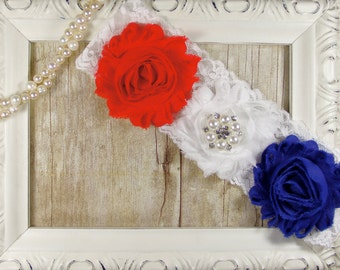 Patriotic Garter - BRIDAL GARTER - Wedding Garter with Red, White & Blue Rosettes on Comfortable Lace with Rhinestones - Patriotic wedding