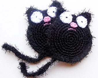 Black Cat Pot Scrubber - Sets of 2 through 8 - Crochet Nylon Dish Scrubbies