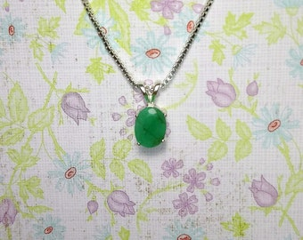 Emerald Pendant, Natural Earth Mined Emerald Faceted Oval 9x7 mm 1.45 Carat necklace