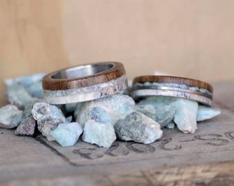 Wood and stone ring Etsy