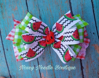 Watermelon hair bow, Watermelon bow, Watermelon outfit, Watermelon dress, Watermelon invitation, Watermelon headband, Watermelon party,