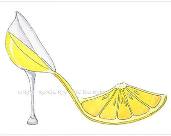 Lemoncello Stiletto Shoe Art  Print