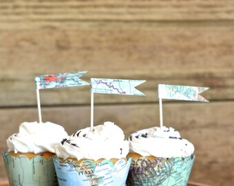 Vintage Map Cupcake Flags
