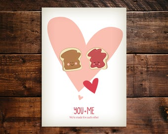 Instant download. Valentine's Day, Anniversary, Love Greeting card. Peanut Butter and Jelly. We're made for each other