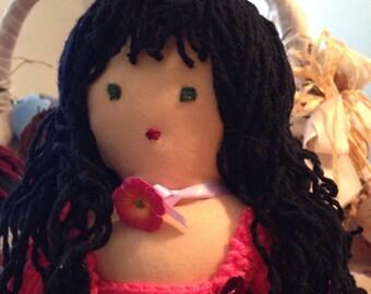 Susy doll, BambolaStoffa, Doll, CapelliRicci, Capellineri, Vestitorosa, ScarpeAFiori, #DifferenceMakesUs, #EtsySuccess, LavoroAMaglia