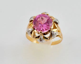 Gold Art Deco ring with French rose (amethyst)