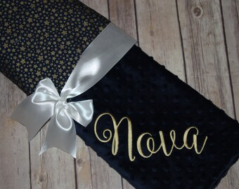 Gold Stars on Navy Blanket - Personalized Minky Baby Blanket