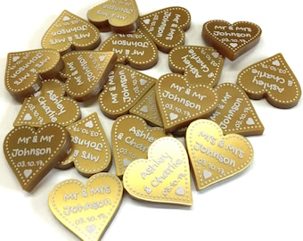 50th Golden Wedding Anniversary Hearts Table Decorations Gold 2cm Love Heart Party Gifts Favours Parents Grandparents - LittleShopOfWishes