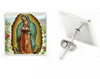 Virgen de Guadalupe Earrings,Mary lady,catholic,religious ,aretes,virgen maria.