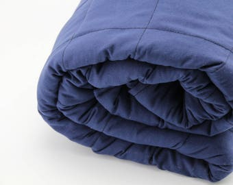 Custom Weight Dark Blue Single Size Cotton Weighted Blanket Australian Made filled with glass micro beads
