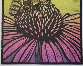 Echinacea - Three Color Woodblock Reduction Print