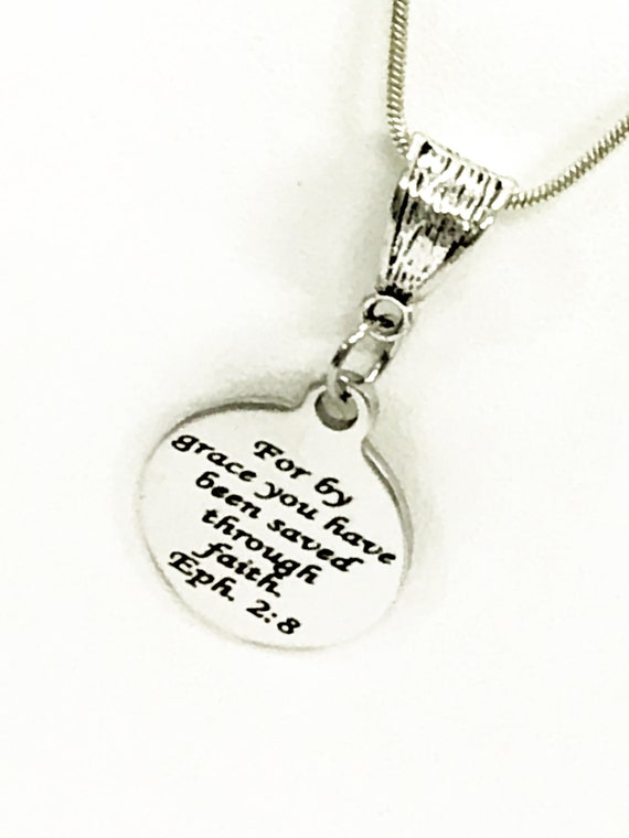 Christian Jewelry, Christian Gift, Christian Necklace, Saved By Grace Through Faith Necklace, Eph 2 8 Scripture Jewelry, Bible Verse Jewelry