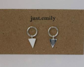 Triangle Drop Circle Studs | Dangly Earrings | Kinetic Jewelry | Geometric Earrings | Simple Earrings | Silver Earrings