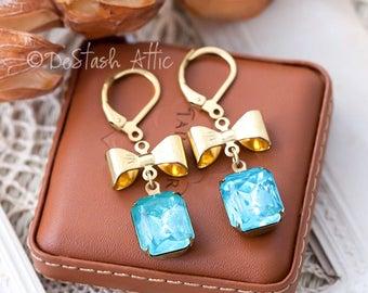 DIY Earrings Kit Pendants Jewellery Making Kit Includes Goldplated Bows, Aqua Blue Rhinestone Drops and Earrings Components