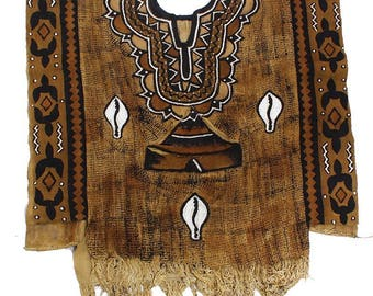 African Mud Cloth Poncho