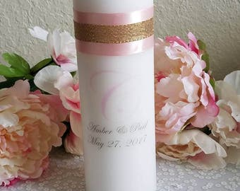 Blush and Gold Personalized Unity Candle Set,Pink and Gold, Wedding Ceremony, Wedding Gift, Unity Ceremony, Personalized Gift