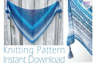 Lace Shawl Knitting Pattern, Galaxies Lace Wrap, Afghan, Shawlette PDF Pattern - Instant Download