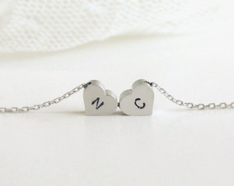Personalized initial two heart necklace, initial jewelry