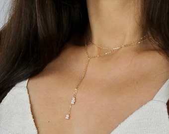 Multi Chain Choker and Back Necklace - Pearl and Gold Chain Necklace - Silver Choker and Lariat Necklace - Pearl Back Necklace -Pearl Lariat