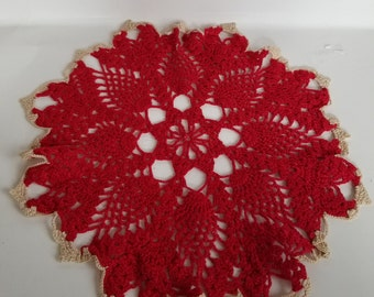 "Red vintage doily, trimmed in cream 10"" diameter"