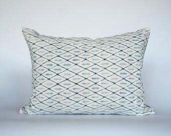 Boho Lumbar Pillow Covers, Shibori Cushion Cover, Indigo Geometric Throw Pillows, Bohemian Decorative Pillows, Farmhouse Decor, Abstract