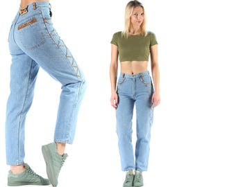 Tapered Well Worn Jeans 80s Denim Jeans Leather Details High Rise Tapered Denim Loose Pants Wide Leg 1980s Grunge Trousers Small W 27