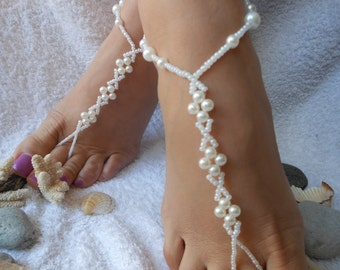 Barefoot Sandals Beach Wedding   Yoga Shoes Foot Jewelry  White Beads