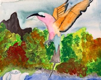 Set of 4 Hummingbird blank notecards