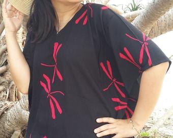Plus Size, Red Dragonfly, Batik Dress, Tunic Dress, Caftan Dress, Kaftan Dress, Pregnant Dress, Maternity Dress, Beach Coverup, Womens Dress