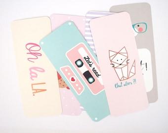 Set of bookmark - 6 bookmarks/bookmarks * OWL * cat * moon * K7 * Ohlala * bear